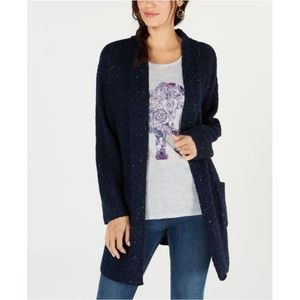 Style & Co Mixed-Stitch Tweed Duster Cardigan